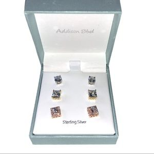 Addison Blvd Sterling Silver Stud Earring set
